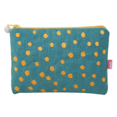 COLOUR EMBROIDERED DOTS PURSE MARINE GREEN
